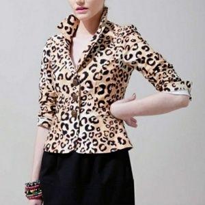 Nanette Lepore Leopard Cotton Blazer 6